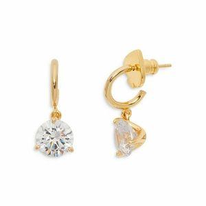 😍KATE SPADE! Diamond gold drop earrings like new